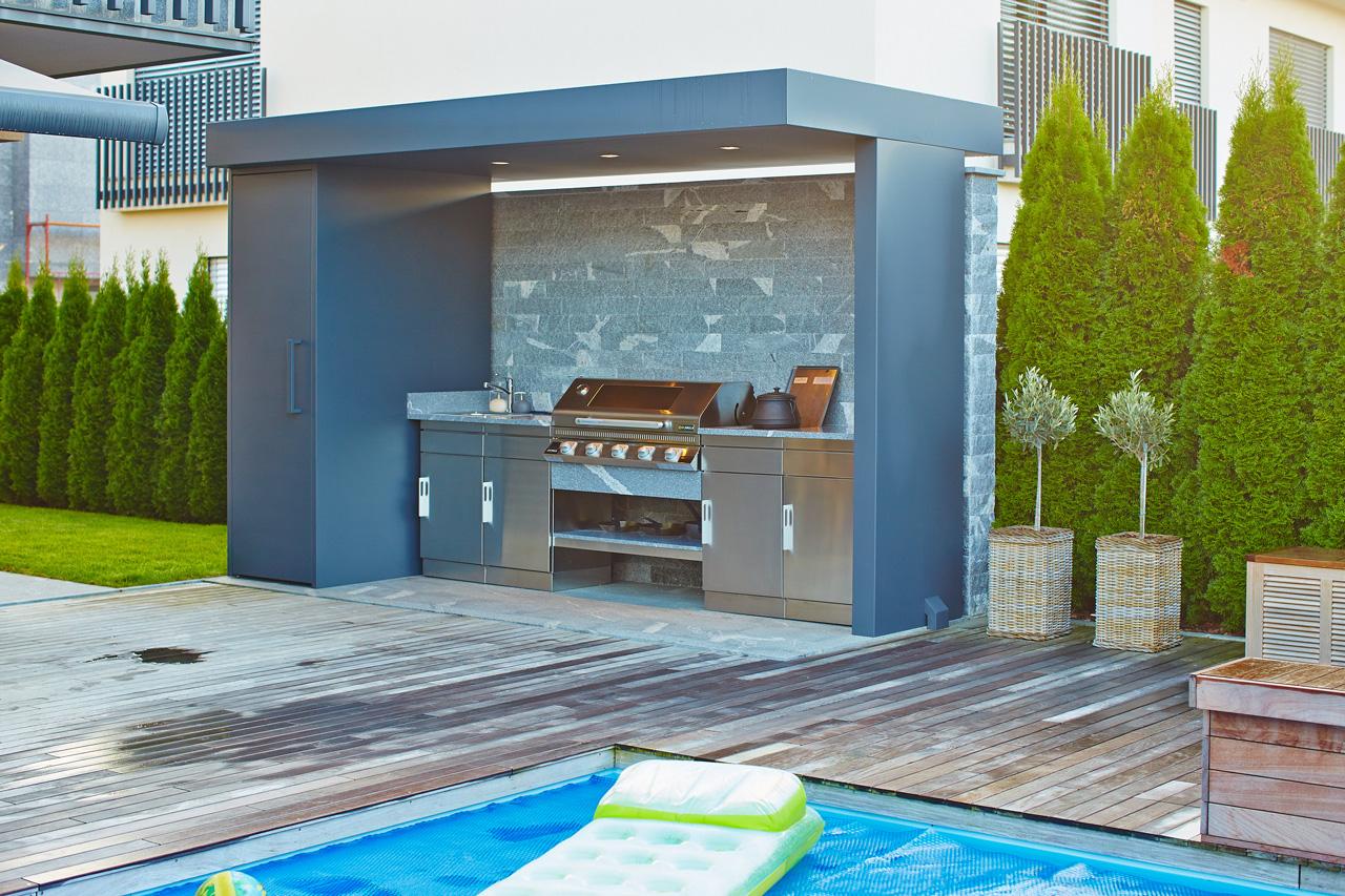 Amato Cucina da giardino con barbecue, lavandino e fornello. CN44